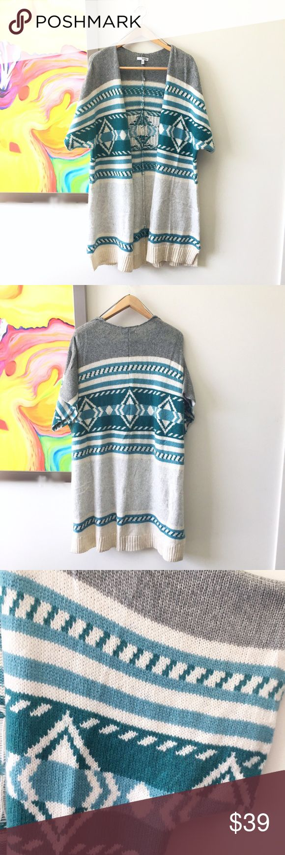 SONOMA Southwestern Long Open Sweater Never worn. Great for layering. Buttery soft material with a southwestern pattern in cream, teal and gray. Fits many sizes and can be easily belted or thrown over another top. So cozy! Sonoma Sweaters