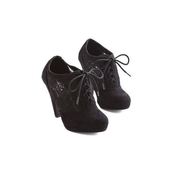 ModCloth Numerous Occasions Heel ($45) ❤ liked on Polyvore featuring shoes, pumps, heels, boots, footwear, black, oxford heel, black shoes, black platform oxfords and black platform shoes