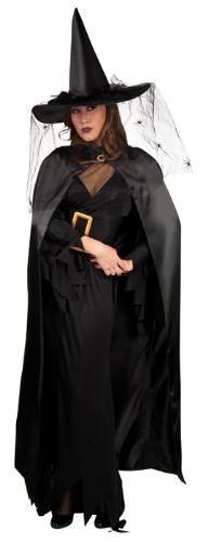 Cadı Pelerini, Siyah Saten Tokalı 130cm Parti Kostümleri - Yetişkin Parti Kostümleri Şapka dahil değildir!  Yakası taşlı tokalı, 130cm uzunluğunda saten polyester pelerin.