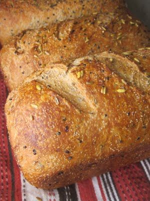Whole grain Kamut Bread with Teff and Black quinoa. Kamut is a low gluten, high protein grain. Love the specks of black quinoa in this bread. Veganize with agave.