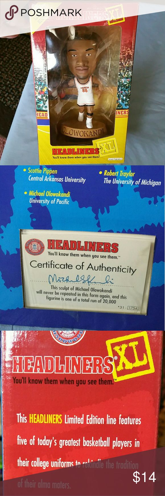 1999 XL BASKETBALL HEADLINER 1999 LIMITED EDITION XL BASKETBALL HEADLINER WITH CERTIFICATE OF AUTHENTICITY MICHAEL OLOWOKANDI... nba Other