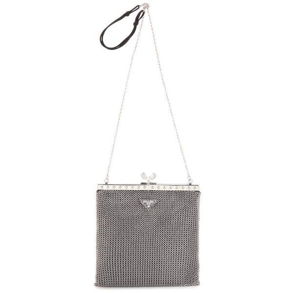 Prada Chain Mesh Shoulder Bag (€2.260) ❤ liked on Polyvore featuring bags, handbags, shoulder bags, silver, shoulder bag handbag, mesh shoulder bag, chain shoulder bag, shoulder handbags and chain handbags