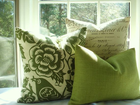Cabin/RV- Designer Decorative Pillow- Bird Pillow -Green Throw Pillow-Accent Pillow 20X20- Moss Green and Ivory - Thomas Paul