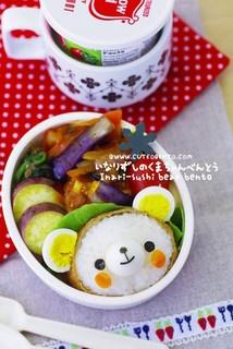 Inari-sushi bear bento by luckysundae, via Flickr