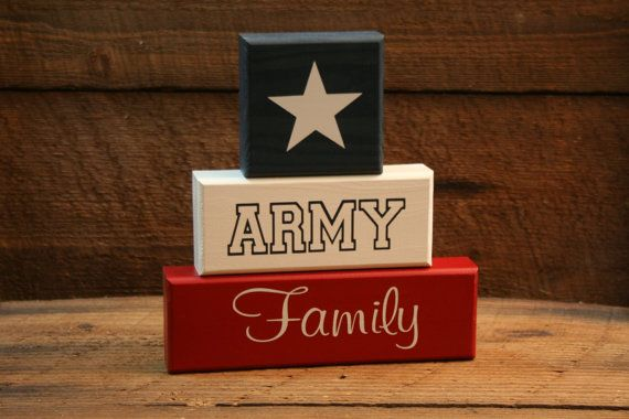 ARMY Family Ready to Ship Red White Blue by KRCustomWoodcrafts, $23.00