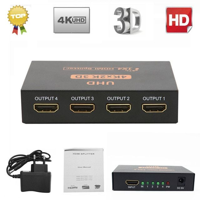 Ultra Hd 4k Hdmi Splitter 1x4 Port 3d Uhd 1080p 4k 2k Video Hdmi Switch Switcher Hdmi 1 Input 4 Output Hub Repeater Amplifier Re Hdmi Splitter Hdmi Hdmi Cables