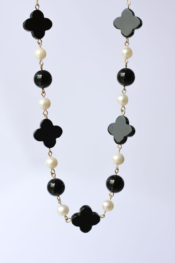 Onyx  pearl necklace Black agate necklace by moemiSugimura on Etsy