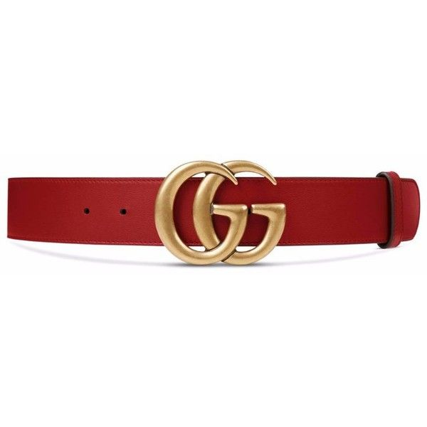 Gucci Leather belt with double G buckle ($420) ❤ liked on Polyvore featuring accessories, belts, red leather belt, gucci, leather belt, gucci belt and 100 leather belt