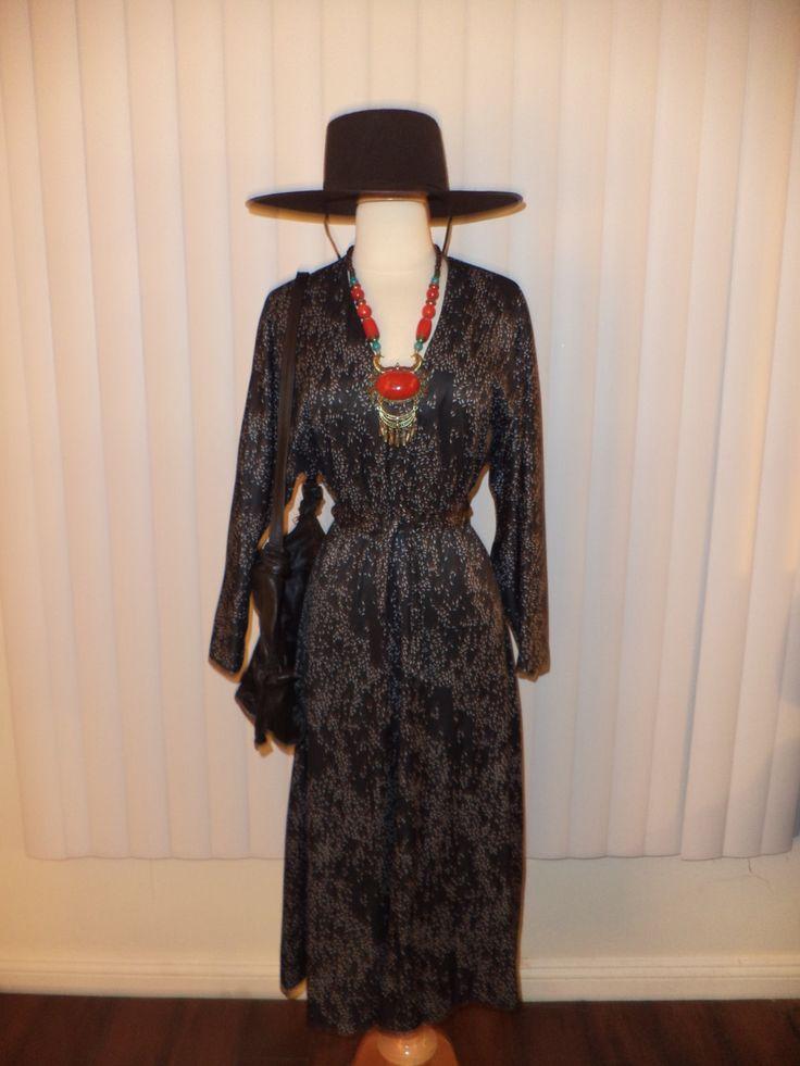 Vtg Boho Black Speckle Gypsy Witch Dress Sz S - M by casadelagitana on Etsy