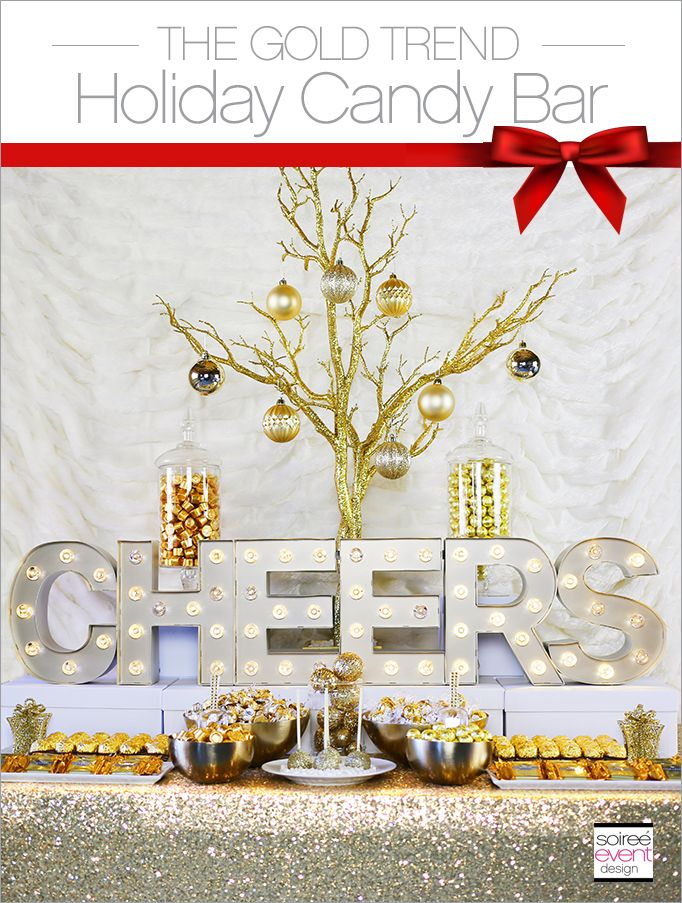 THE GOLD TREND: How to Set Up a Holiday Gold Candy Table with candy from @Candy