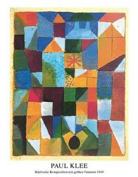Kunstdruck Poster: Paul Klee, Städtische Komposition mit gelben Fenstern