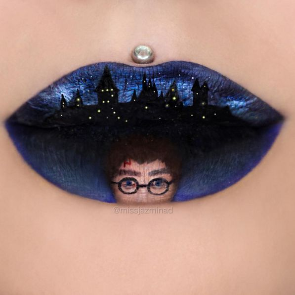 Miss Jazmina is an Instagrammer who creates next level amazing lip art - like this Harry Potter masterpiece.