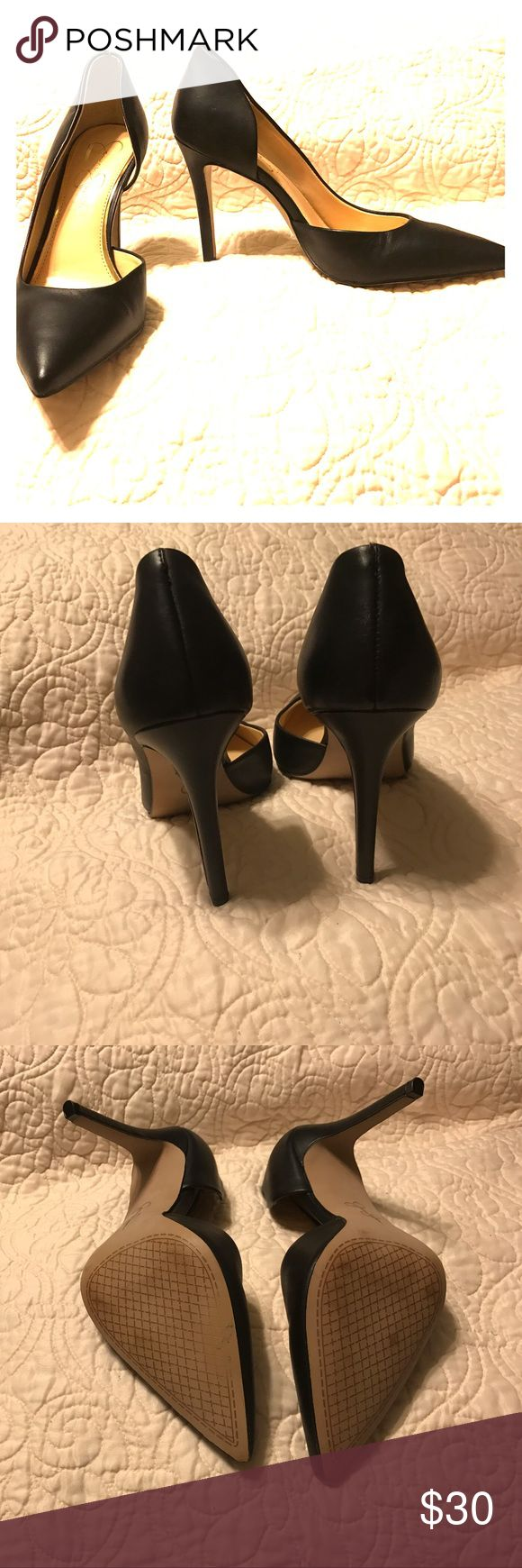 """Jessica Simpson Black Pointed Heel (Claudette) Jessica Simpson Claudette Black Pointed Heels. Size 8. Heel Height: 4"""". d'Orsay Silhouette. Faux Leather. Worn once. No damage, except for minimal wear to the soles (see pictures). Jessica Simpson Shoes Heels"""