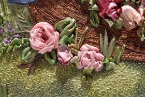 spider web and stem stitch rose