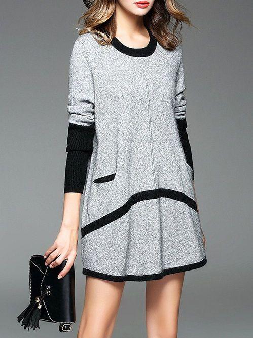 Color-block Knitting Mini dress