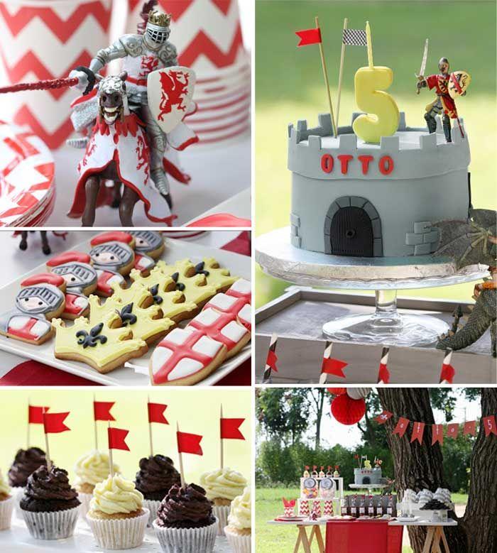 Knight themed birthday party with Such Cute Ideas via Kara's Party Ideas Kara Allen KarasPartyIdeas.com #knightparty #medievalpartyideas #pa...