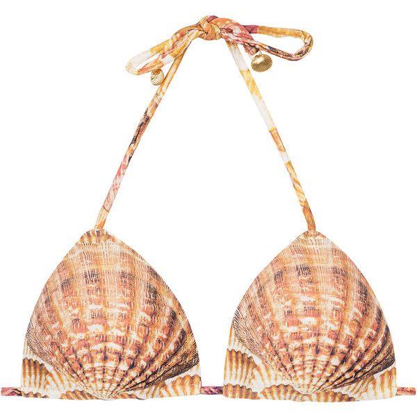 Lua Morena Padded Shell Pattern Triangle Bikini Top - Soutien Sea... ($37) ❤ liked on Polyvore featuring swimwear, bikinis, bikini tops, gold, triangle swimwear, triangle bikini top, triangle swim wear, swim suit tops and bikini swimwear