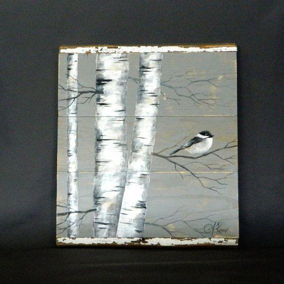 White Birch Painting, Reclaimed wood wall Art, Hand painted White Birch, Distressed, wall decor, chickadee Bird, Rustic & Shabby Chic