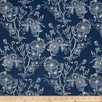 Art Gallery Millie Fleur Jersey Knit Line Drawings Bluing