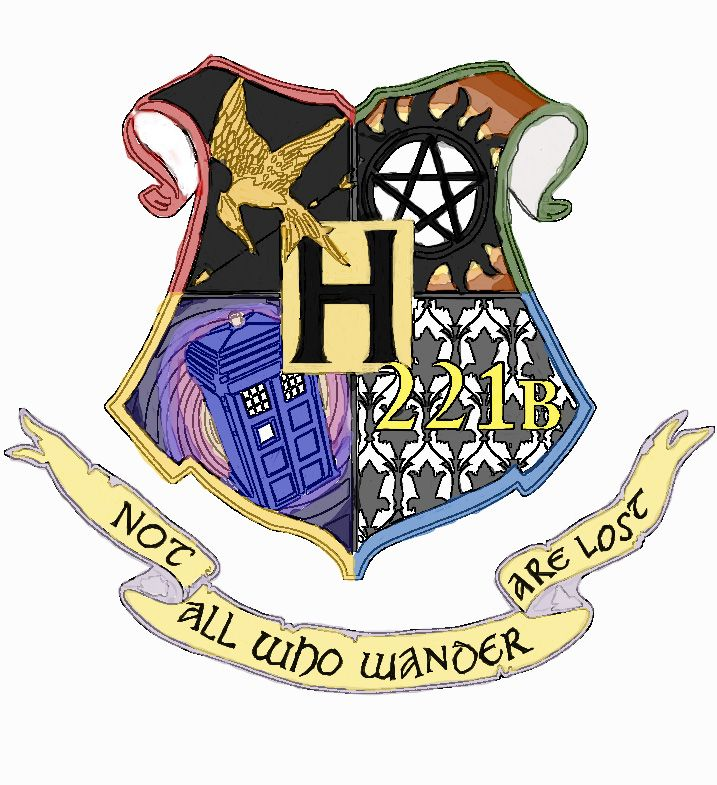 the ultimate fandom coat of arms.... it's so beautiful!!! <3 [Harry Potter/Hogwarts shield; top left is the mockingjay from The Hunger Games; top right is the devil's trap from Supernatural; bottom left is the TARDIS from Doctor Who; bottom right is the wallpaper and address for BBC's Sherlock; text scroll at bottom from Lord of the Rings.]