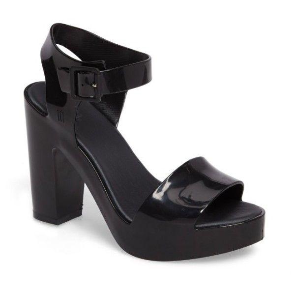 Women's Melissa Mar Platform Sandal (1.933.490 IDR) ❤ liked on Polyvore featuring shoes, sandals, black, strap sandals, strappy block heel sandals, black strap sandals, black platform sandals and melissa sandals
