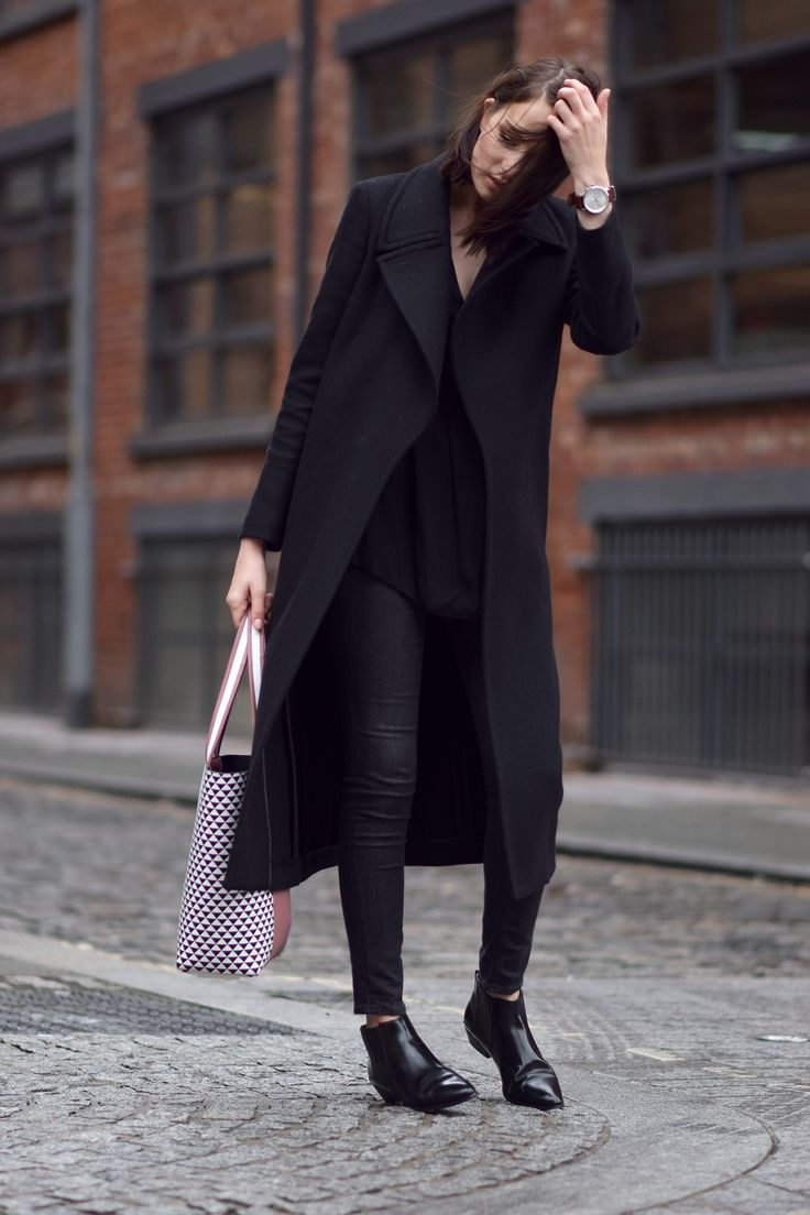 A long black coat always looks chic, and I can't get enough of black ankle boots in winter!