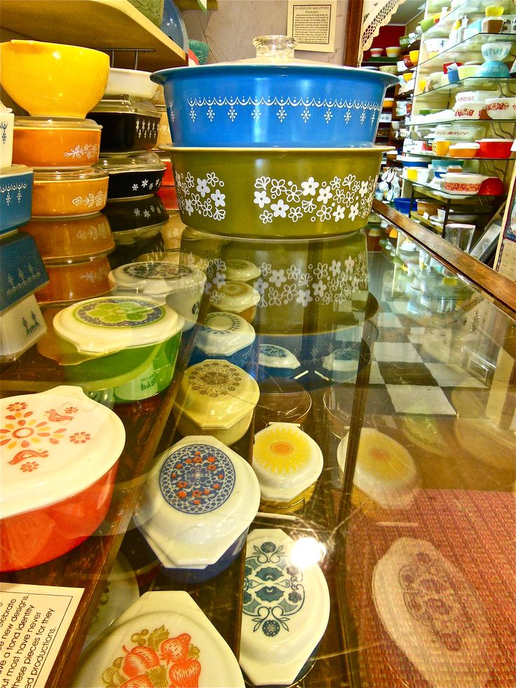 Amy's Pyrex Museum. Folks donate pieces almost weekly.