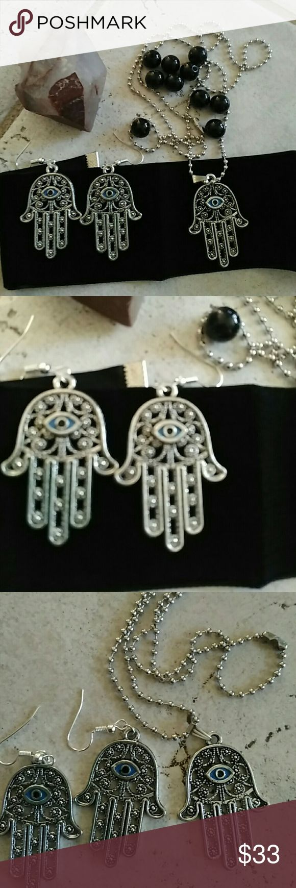 Hamsa protection jewelry set tibet silver beauty Beautiful hamsa items jewelry 2 set earrings and 1 ball point necklace 20 inch chain  Brand new bigger then quarter size  Free crystal rose quartz w purchase   Wicca wiccan hamsa evil eye tailsmen protections triple moon jewelry boho jewelry Asian Africa Egypt kawaii boutique Jewelry
