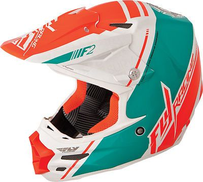 Fly Racing F2 Carbon Tray Canard Replica MX Helmet Snell M2010 DOT Teal Orange