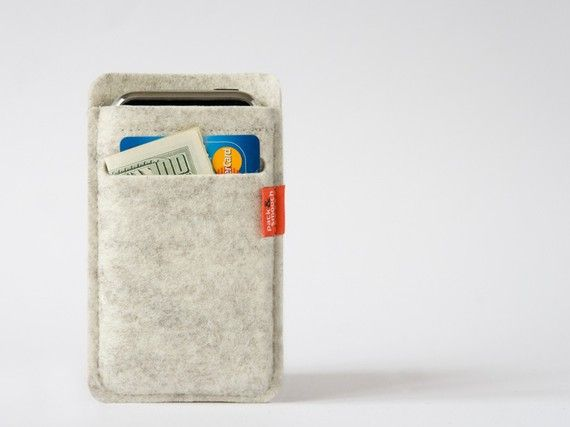 Merino wool iPhone wallet case via etsy