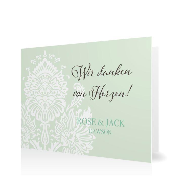 Dankeskarte Cambridge Classic in Pfefferminz - Klappkarte flach #Hochzeit #Hochzeitskarten #Danksagung #elegant #Foto #vintage https://www.goldbek.de/hochzeit/hochzeitskarten/danksagung/dankeskarte-cambridge-classic?color=pfefferminz&design=79665&utm_campaign=autoproducts