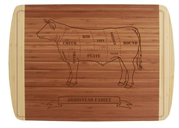 """Engraved Butcher Beef Cuts Cutting Board 18x12"""" with Groove - Classic Wedding Gift with Personalization, Chef Gift or Kitchen Display"""