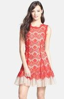 Betsy & Adam Lace Fit and Flare Dress