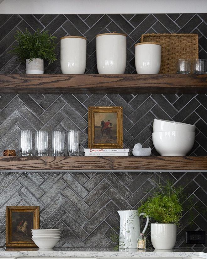 Herringbone Backsplash Tile Backsplash Is Charcoal Gray