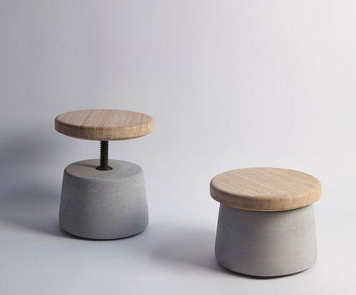 Contemporary stool / metal / bamboo / cement XUAN  Bentu