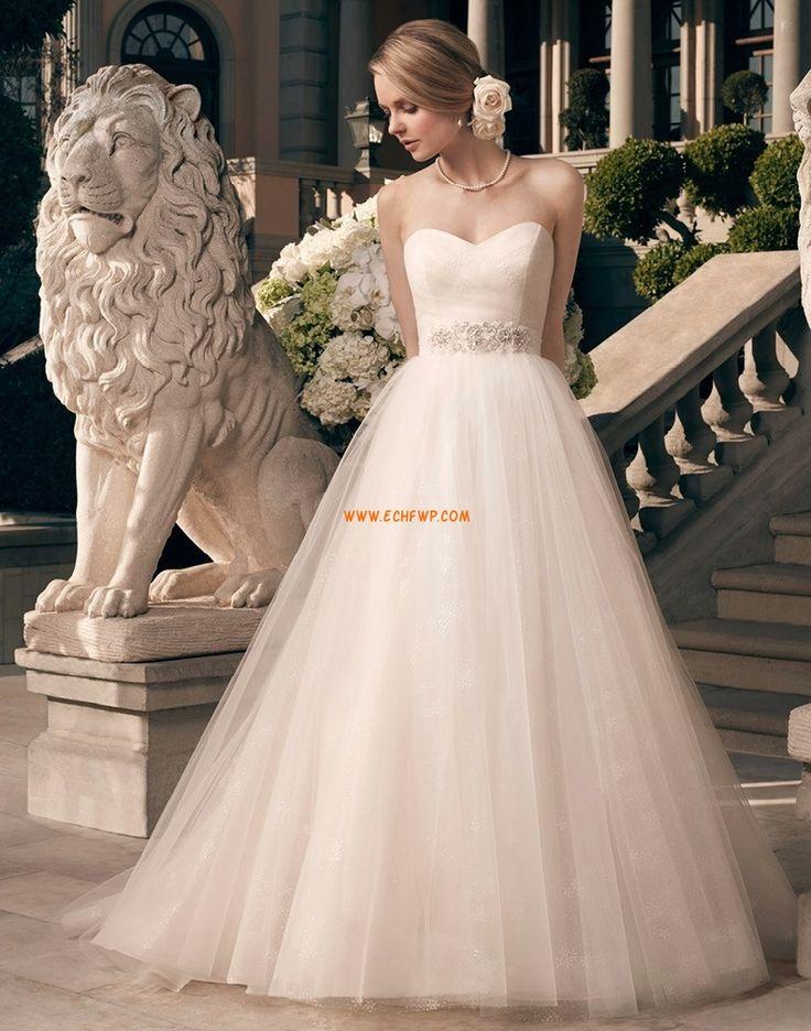 Court Släp Tyll Empire Bröllopsklänningar korta