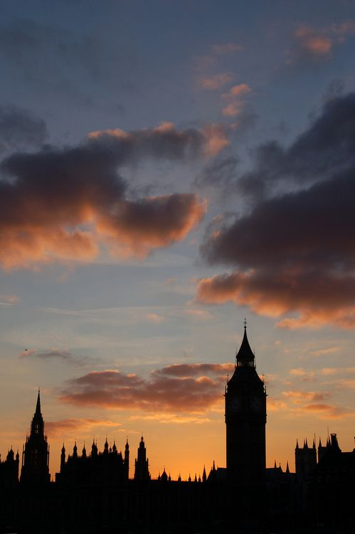 Sunset over Parliament and Big Ben, London