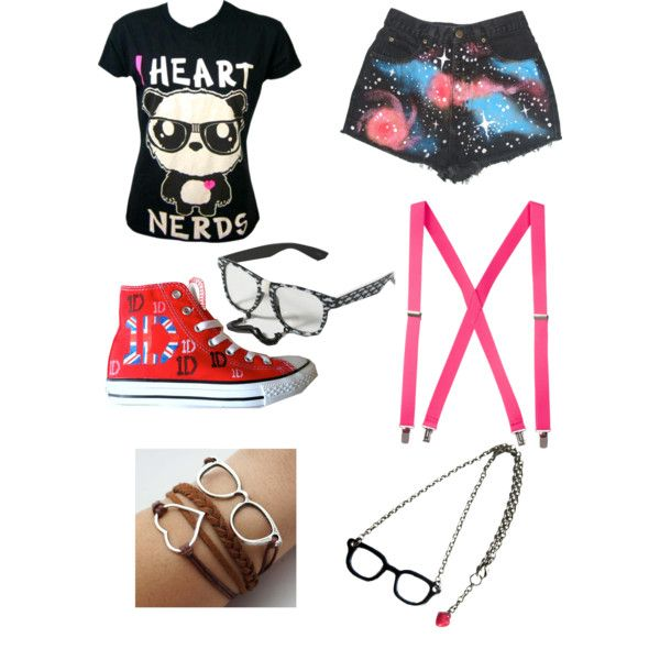 cute nerd outfits for nerd day   fashion look from January 2013 featuring claire's sunglasses. Browse ...