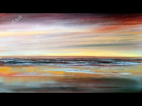 Easy Seascape , Acrylic painting, beginners lesson , - YouTube