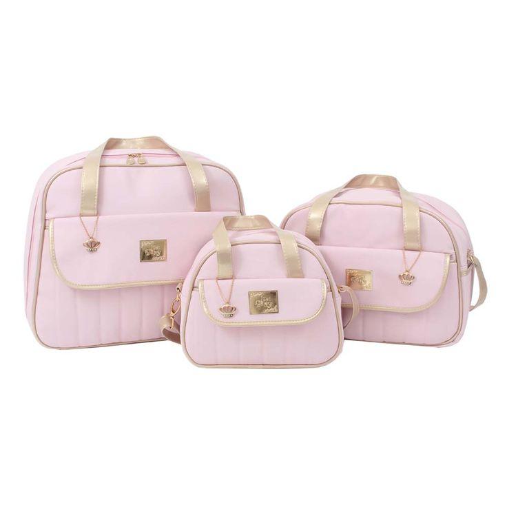 ÁguiaBox - Conjunto Mala Maternidade, Bolsa e Frasqueira Londres Rosa - Just Baby