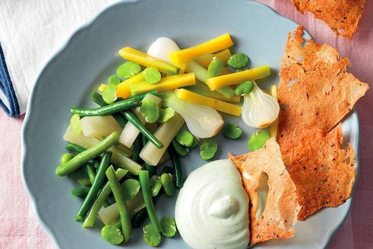 Verdure cotte con cialda di lenticchie