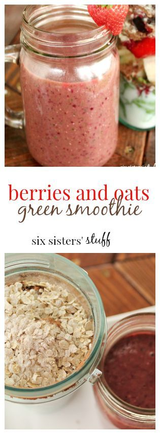 Berries and Oats Green Smoothie from Six Sisters' Stuff. Tastes like dessert!