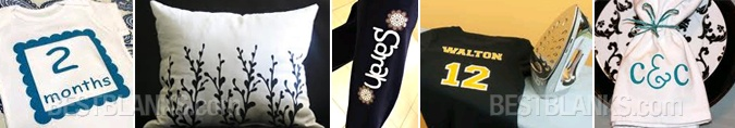Cut intricate designs with the Silhouette in smooth vinyl, flocked or printable heat transfer material, then iron them onto clothes and other fabrics for a professional custom look.