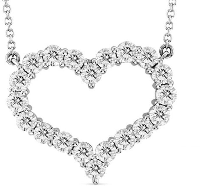 Zales 1 CT. T.W. Diamond Heart Necklace in 14K White Gold