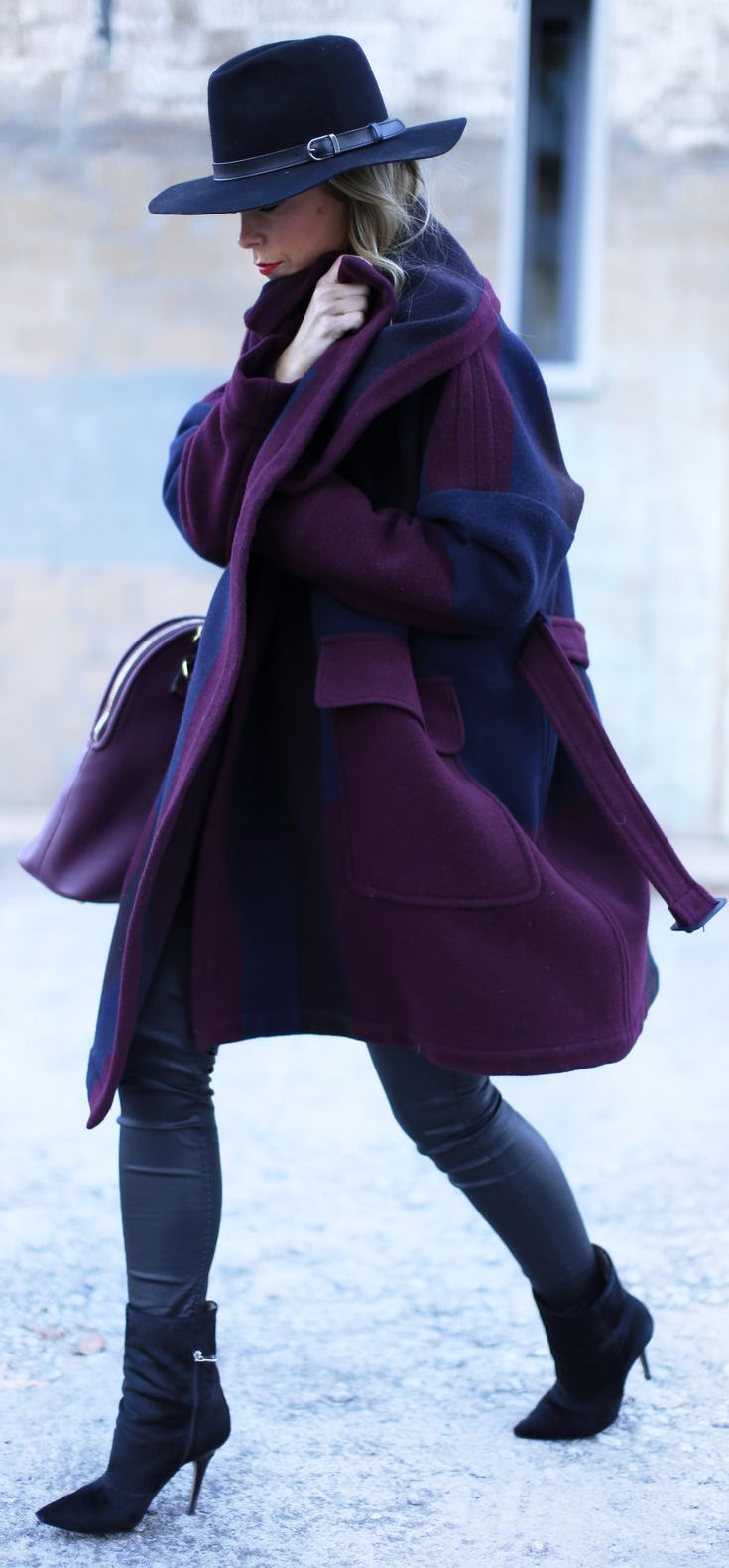 Burgundy And Blue Oversize Coat by Happily Grey