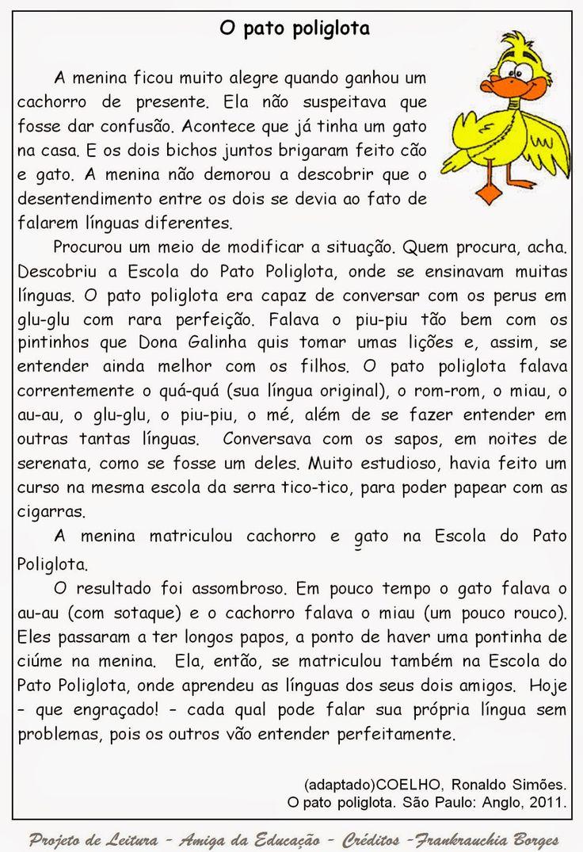 AMIGA DA EDUCAÇÃO.: Texto O pato poliglota / Texto e atividades.