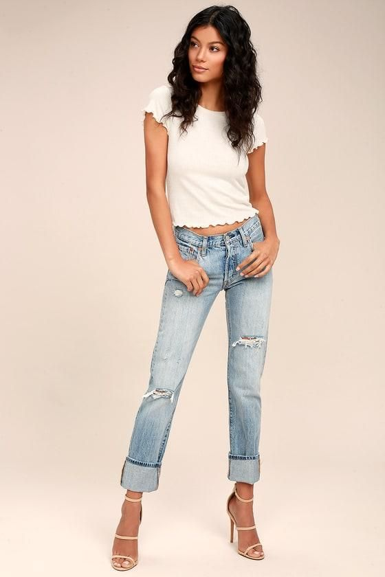 #Lulus - #Lulus Levi's - 501 Light Wash Distressed Jeans - Size 31 - Blue - 100% Cotton - Lulus - AdoreWe.com