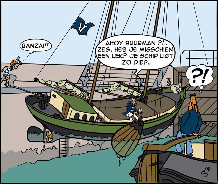 Kapitein Joost in de sluis.  Kapitein Joost verhuurt zeilschepen bij Rederij Vooruit. Meer informatie op www.rederij-vooruit.nl #zeilen #Waddenzee #strip #sluis