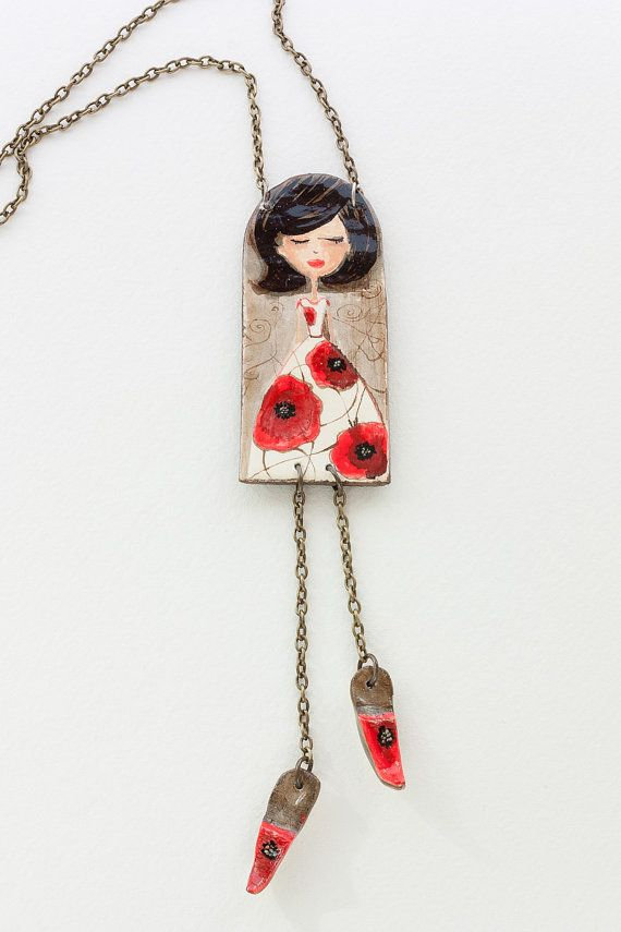 Pendant Girl with poppies by Liliart on Etsy, $30.00