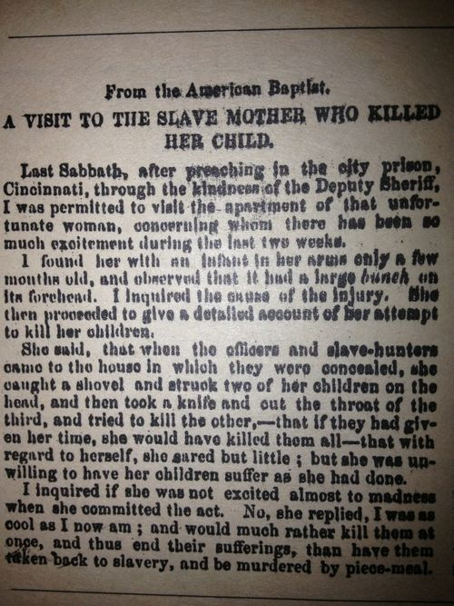 The clipping that inspired Toni Morrison to write Beloved. Based on true events Margaret Garner - never forget her name!